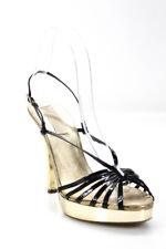 Michael Kors Womens Patent Leather Platform Slingbacks Black Gold Size 7.5 Mediu