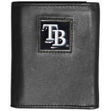 TAMPA BAY RAYS FINE GRAIN LEATHER TRI-FOLD WALLET, MLB