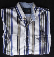 "Lone Roo By Roper X-L Striped Wester Shirt 17.5"" Neck Short Sleeve Blue,Brown"
