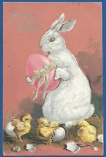 Antique Easter greeting postcard, bunny, chicks, PFB, mailed Luxembourg 1909