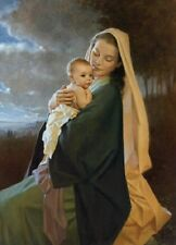 Kathy Lawrence TREASURED IN HER HEART - 14x11 double matted art, Mary baby Jesus