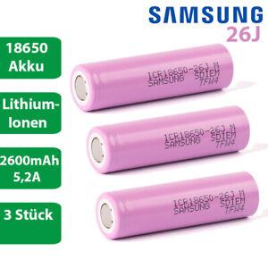 3 x Samsung ICR18650-26J 3,6V 3,7V 2600mAh 5,2A Lithium Ionen Akku lose Li-Ion
