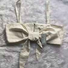 BNWT River Island Bralet Size 10 Linen Cotton Top Tie Front Stripe Cream Beige