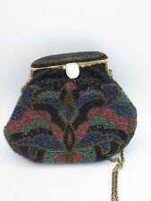 Oriental Vintage Clutch Shiny Heavy Beaded Metallic Black Red Gold Evening Chain