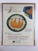 Vintage Cottage Cheese Peach Food Art Print Collectible Advertisement 10 x 13.5