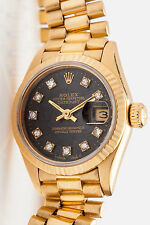 Estate $20,000 Rolex FACTORY Diamond BLACK Dial Ladies 18K Gold President Watch