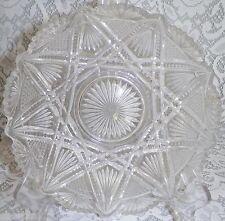 Vtg Cut Crystal Glass Bowl Pinwheel Saw Tooth Scalloped Edge Star of David Pat.