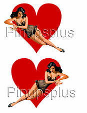 WWII Nose Art Pinup Girl on HEART Guitar Decals #203