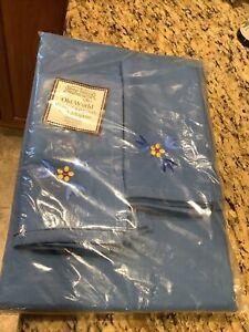 Temptations Old World 60 x 120 RECTANGULAR Blue Tablecloth+ 8 Matching Napkins