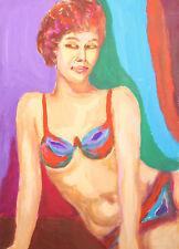 Vintage gouache painting nude impressionist female portrait