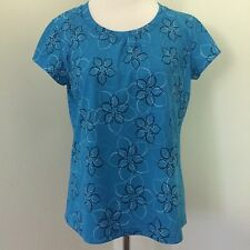 LL Bean Womens L Floral Blue Short Sleeve Athletic Top Shirt Large B03