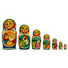 Set of 7 Kolobok Russian Fairy Tale Wooden Nesting Dolls 8.5 Inches