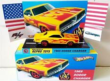 Hot Wheels 1969 Dodge Charger with Flames Diecast Car in Custom Display & Box