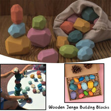11/16x Wooden Toys Colored Stone Building Blocks Stacking  Educational Toy Gift