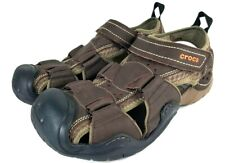 Crocs Men's Swiftwater Leather Fisherman Sandal Espresso/Walnut 8 M US