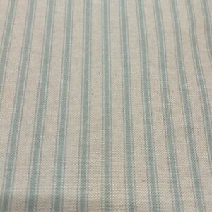 Yale Ticking Stripe Linen Fabric Duck Egg Blue Double Width 280cm Curtains