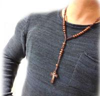 Kreuz Anhänger Rosenkranz Kette Maria Jesus Holzperlen Perlen Holz Halskette