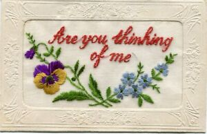 ARE YOU THINKING OF ME - EMBROIDERED SILK POSTCARD