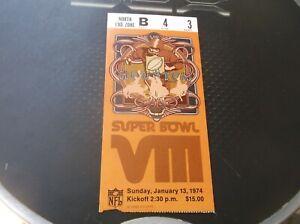 1974 NFL Super Bowl VIII Ticket Stub Miami Dolphins Minnesota Vikings Houston