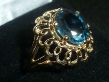10K SOLID YELLOW GOLD FILIGREE OVAL-CUT BLUE TOPAZ GEMSTONE RING -SIZE 6 - 3.88G