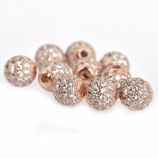 2 Rose Gold Micro Pave' Round Beads w/ Cubic Zirconia Crystals 6mm bme0433