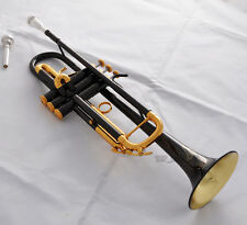 Prof Black Nickel Gold Bell Bb Trumpet horn Engraving Bell 2 Mouthpiece W/Case
