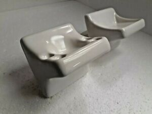 White Ceramic Soap Dish Tray Toothbrush Tumbler Cup Holder Vintage Color K101