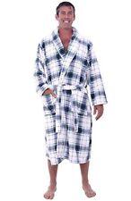 Men's Shawl Collar Blue White Plaid Bathrobe Fleece 1XL 2XL Thick Spa Robe XL