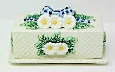 Cracker Barrel 1997 Ceramic Floral Flowers Gingham Butter Dish Vintage