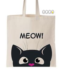 Cotton Tote Bag- Cute Peeking Cat Design