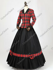 Victorian Plaid Dress Theater Dark Witch Vampire Halloween Costume N 122 XXL