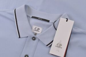 C.P. Company NWT Polo Shirt Short Sleeve Size L In Light Blue Slim Fit