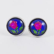 BEAUTY AND THE BEAST ROSE STUD EARRINGS stained glass window disney belle