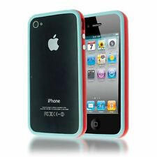 DUAL COLOUR BUMPER FRAME W/ BUILT-IN BUTTONS SILICONE CASE COVER FOR IPHONE 4 4S