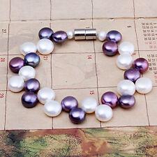 Pearl Bracelet W/Magnetic Clasp   Fjus 8mm Natural White & Black Button