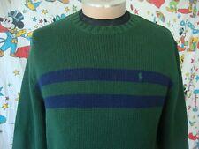 Polo By Ralph Lauren Forrest Green navy blue stripe Sweater Sz L