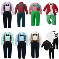 Newborn Intant Baby Boy Gentleman Clothes Romper Tops Jumpsuit Bow Tie Outfits