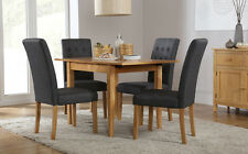 Devon & Regent Extending Oak Dining Room Table and 4 Chairs Set (Slate)
