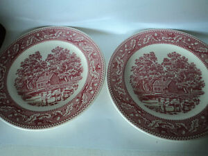 "A set of two vintage 10"" plates red barn American farm life scene Memory Lane"