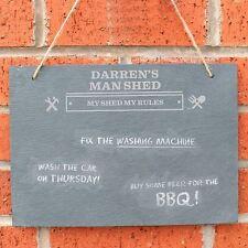 Personalised Man At Work Hanging Slate Sign Man Shed Garage Gift for Dad