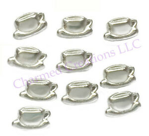 10pc Floating Charm Lot Coffee Cup And Saucer For Glass Memory Locket Necklaces