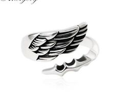 Vintage Simple Fashion Feather WING Adjustable Thai Silver Ring