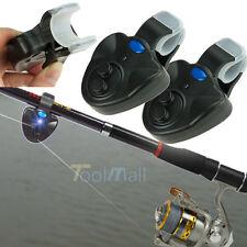 2 X Electronic Fish Bite Fishing Sound Bell Alarm Alert Clip On Rod W/ LED Light