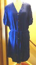 F+F ROYAL BLUE SHORT SPLIT SLEEVE A-LINE SHIRT DRESS+BELT SIZE 18/20 BNWT