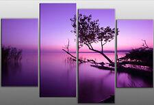 EXTRA LARGE Viola moderato LAGO SPLIT SCENIC Tela arte immagine 5ft Wide 4 Pannello
