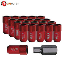 GDS 20 Red 43mm Tuner Wheel Lug Nuts 12x1.5 for Honda Civic Toyota Corolla Camry