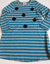 Hanna Andersson long sleeve dress size 110 (5) blue stripe flowers