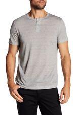 8b56a8169be Theory Mens Large L Gaskell Henley T-shirt Ember Multi Gray Kornati Mini  Stripe