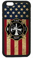 Case Cover for iPhone 4 4s 5 5s 5c 6 6 Plus Firefighter Fireman USA Flag Black
