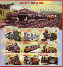 Dominica 1996 MNH Trains of World 9v MS Railways Rail Züge Chemin de Fer Stamps